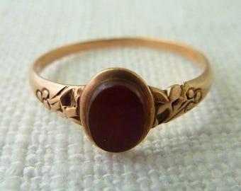 Antique Victorian Size 5.25 10K Gold Carnelian Signet Ring