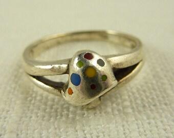 RESERVED for LIsa ========== Size 7.75 Vintage Sterling and Enamel Mushroom Ring