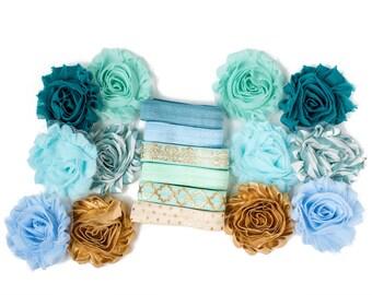 Glass Slipper : Aqua Gold DIY Headband Kit | 6 or 12 Headbands | Chiffon Flower FOE Fold Over Elastic | Princess Parties & Baby Showers