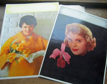 2 Vintage Lithographs * Retro 1960's Calendar Girls * Spring Yellow * Oversized Print * Mad Men * Black Orchid ~ Pink Head Shot ~ 1961