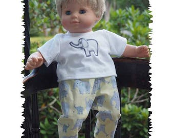 15 inch Baby Doll Clothes will fit Bitty Twin Dolls or Bitty Baby Doll Outfit - Pants and Shirt -  Elephant