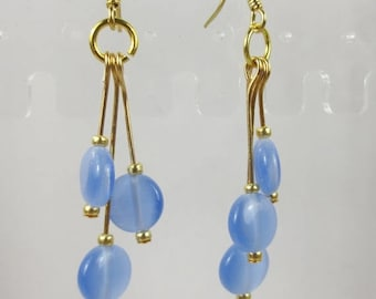 SALE, 50%, Blue Cats Eye round beads in dangle earrings, cats eye beads, gold earrings, holiday earrings
