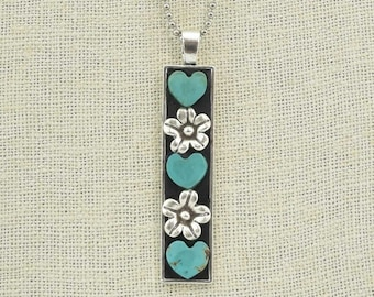 Turquoise Hearts with Hill Tribe Silver Flower Long Rectangular Pendant Necklace