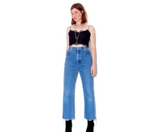 Vintage Wranglers wrangler jeans 30 31 waist size large / ripped jeans boyfriend jeans distressed jeans high waisted jeans mom jeans raw hem