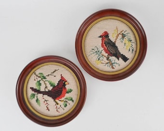 """Bird Needlepoint Pictures - Round Frame - Cardinal and Robin - 7"""""""