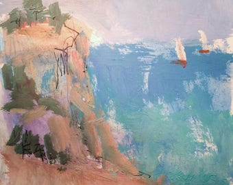 Acadia Bar Harbor seascape painting along Maine coastline and sailboats