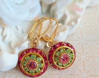 SALE 20% Off Art Deco Jewelry - Pink Earrings - Victorian Earrings - Crystal Cluster Earrings - AURORA Pink