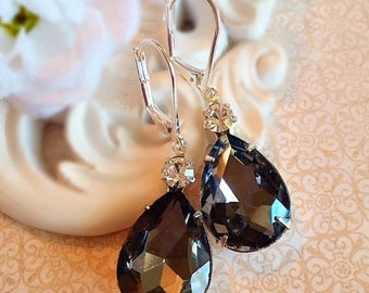 SALE 20% Off Spring Jewelry - Black Earrings - Victorian Earrings - Grey Crystal Earrings - Bridesmaid Gift - MAYFAIR Black Diamond