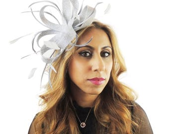 Silver Fascinator Kentucky Derby or Wedding Hat **SAMPLE SALE