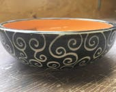 Orange Swirl Small Bowl