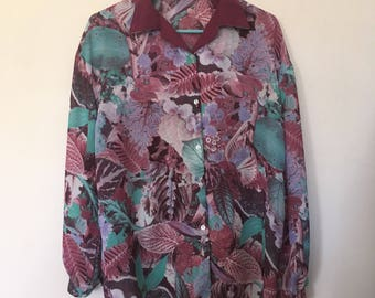 Photographic Floral Collage Print Shirt Green 70s Vintage
