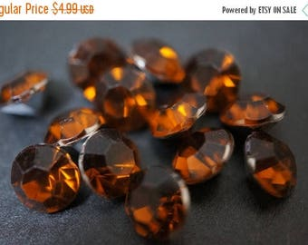 SUMMER CLEARANCE CLOSEOUT Sale - Faceted Deep Dark Rich Honey Brown Round Lucite Crystal Settings - 8mm - 50 pcs