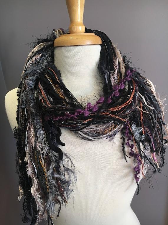 Fringie scarf , Fringe art yarn scarf 'Immortal', handmade, Fringe Scarf, purple grey rust scarves, art yarn scarf, boho fashion, necklace