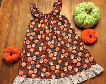 Girls Halloween dress size 5/6 // Peasant style dress // Halloween dress // kitty pumpkin dress