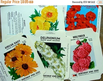ONSALE 5 Vintage Lot of Empty Seed Packets Unused Vintage Flowers Garden Seed Ephemera N093