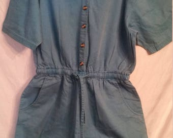 Vintage green jumpsuit size large L button up shorts culottes