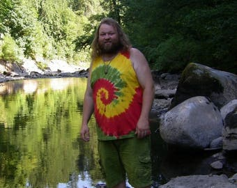 Rastaman Spiral Tie Dye Tank Top (Made By Hippies Tie Dye In Stock  in Sizes Small to 3XL) (Fruit of the Loom)