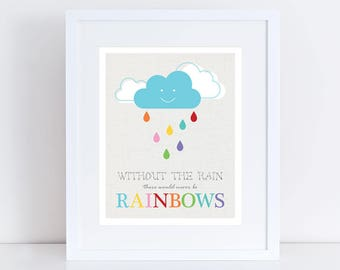 baby room artwork - without the rain there would never be rainbows print colourful cloud kids nursery art children baby girl boy saying