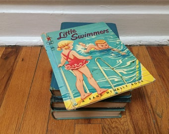 Little Swimmers Book Swimming Learn to Swim Children's Book Distressed Hardcover Rand McNally Elf Book