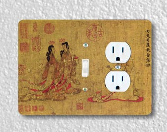 Admonitions Scroll Chinese Painting Toggle Switch and Duplex Outlet Double Plate Cover