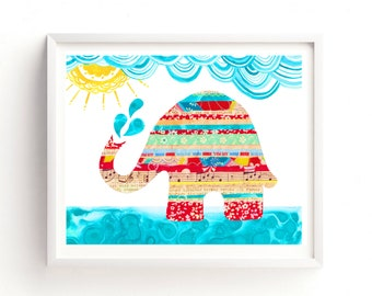 Elephant Printable, Bathtime, Printable art, Wall art, Vintage Inspired Kids Gender Neutral, Nursery decor