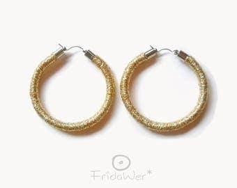 Gold Hoops Earrings in lurex-ThousandTwist by FridaWer-Circle earrings,Textile Earrings,Fiber big Earrings,Rope hoop Jewelry,gift for her