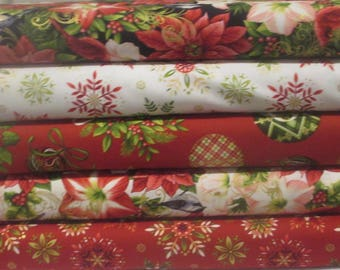 Cream Winter Birds and Flowers Holiday Fabric  Bundle - Studioe Fabric