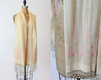20s Tissue Silk Scarf / 1920s Vintage Embroidered Floral Wrap /  Wild Rose Shawl