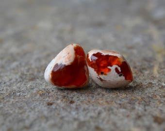 Mexican Fire Opal Stud Earrings