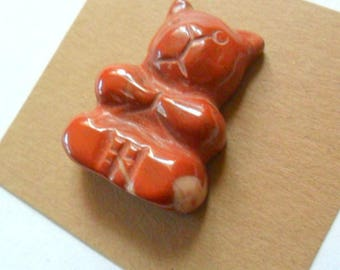 """Lg. 1 1/8"""" Sitting Cat Carved Red Jasper Bead Finding"""