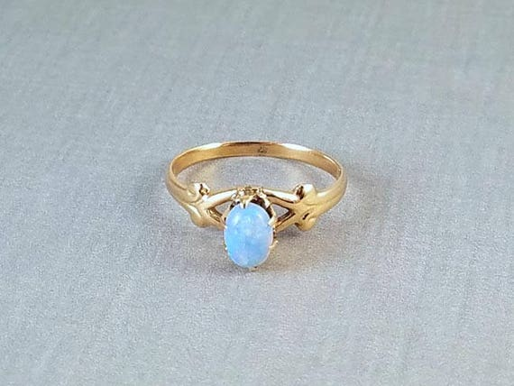 Antique Edwardian 10k gold opal solitaire ring signed White Wile & Warner WWW size 6