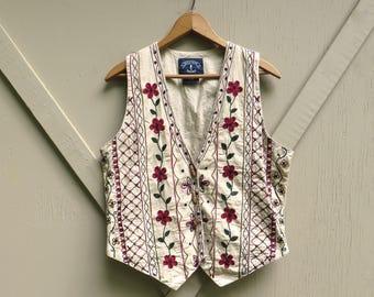 Boho vintage Floral Embroidered Beige Cotton Vest / Solutions Vest / Hippie Indie Hipster Bohemian Folk Festival Vest