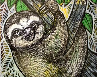 Original Sloth Miniature Art Painting by Lynnette Shelley