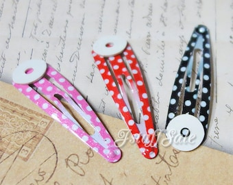 30 pcs - DIY Glue on pad Snap hair clips (polka dots)