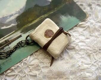 Winter Wonderland - Hand Bound Book Necklace, Vintage White Leather, OOAK