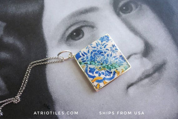 Silver Necklace Portugal CRACKED Tile Azulejo with natural Turquoise Blue 16th Century -Tomar - Convent of Christ built in 1160  - Gift Box