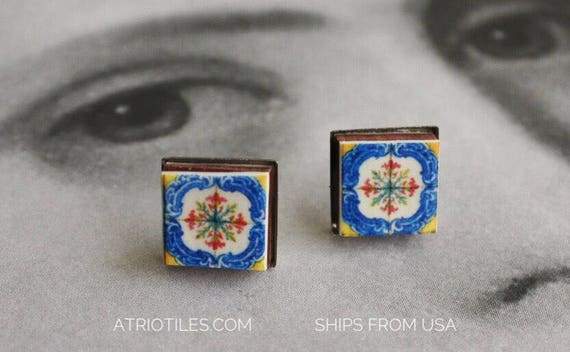STUD Earrings Tile Post Portugal Deruta Sicily Italian Azulejo Antique Porto STAINLESS STEeL Hypo Allergenic Gift boxed  Ships from USA 1614