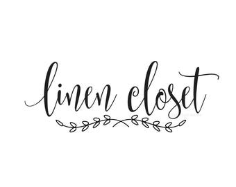 Linen Closet decal, make your own sign, door decal, bath door sticker, vinyl letters, bathroom sticker, bath decal, home decals, farmhouse