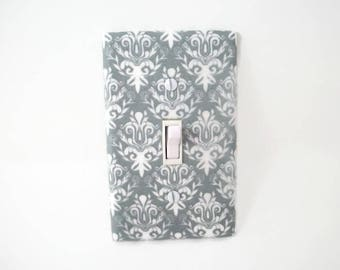 Nursery Light Switch Cover - Gray Damask Switch Plate - Grey Nursery Decor