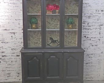 China Cabinet / Bookcase, Distressed Black Cottage Style  - CB504 Chippy Shabby Farmhouse Chic, French Country