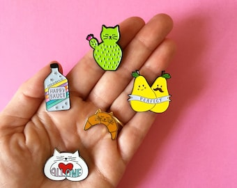 Enamel Pin set of three, Cactus pin, Croissant Cat pin, Camelcorn pin, Perfect Pear pin, Happy Sauce pin, All One hugging cat, HibouDesigns