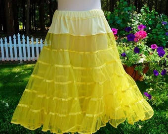 "Vintage Square Dance Net Slip Petticoat Crinoline Lemon Yellow, Satin Trimmed, 2 Layer, Malco Modes Waist 27"" - 33"""