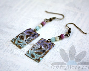 Pretty Pastel Earrings - vintaj blanks, patina, beads, violet, blue