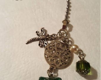 Dragonfly with Emerald Butterfly  and Crystal - Fan Pull or Light Fixture or Zipper pull or Rear VIew Mirror Charm - cusotmize