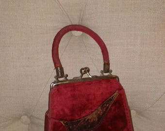 Red Velvet Cake, Very Old Child's Purse or Flapper Purse at Nestbox Vintage