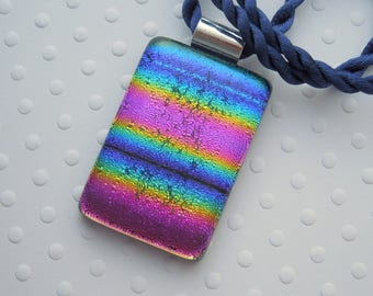 Rainbow Necklace - Fused Glass - Dichroic Fused Glass Pendant - Bohemian Pendant - Boho - Dichroic Glass - Dichroic Jewelry 5552