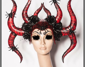 Black Widow... Spider Web Themed Horns in Black and Red with Spiders Glitter and Rhinestones