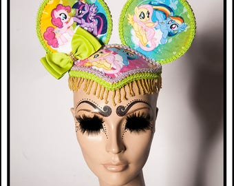 My Little Pony Mouse... My Little Pony Themed Mouse Ears With Lime Green and Lavender Trim and Bows  and Beads Fascinator Headdress