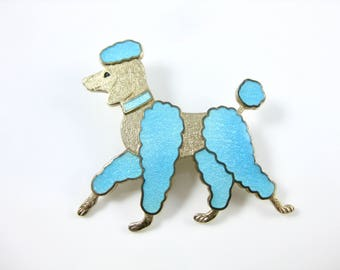 Vintage Blue Enamel French Poodle Dog Charm