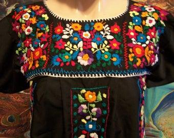 Mexican Dress, Embroidered, Black, short, Frida Kahlo, size S